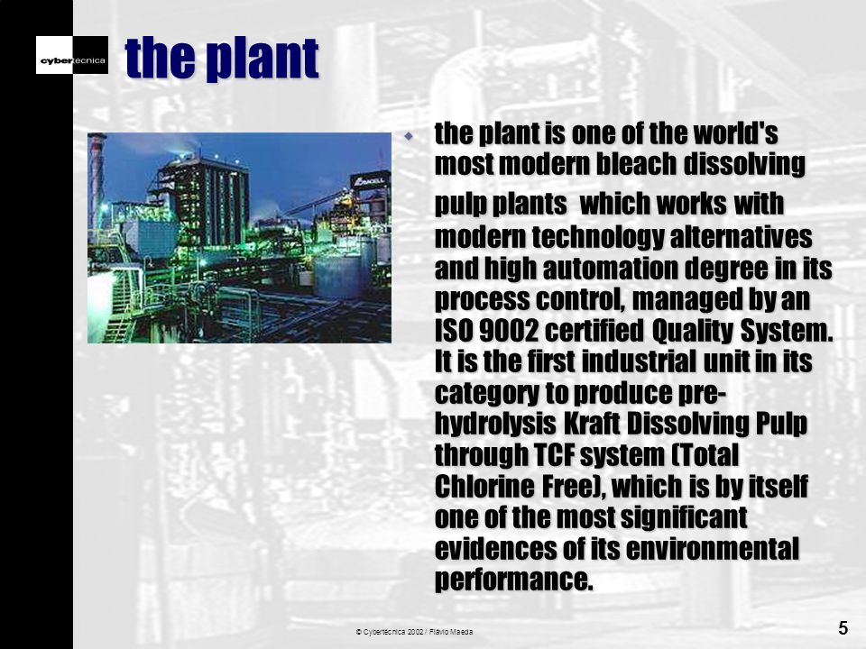 © Cybertécnica 2002 / Flávio Maeda 5 the plant w the plant is one of the world s most modern bleach dissolving pulp plants which works with modern technology alternatives and high automation degree in its process control, managed by an ISO 9002 certified Quality System.