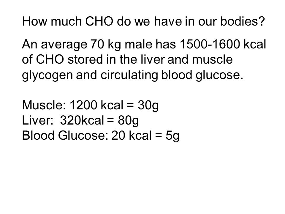 How much CHO do we have in our bodies.