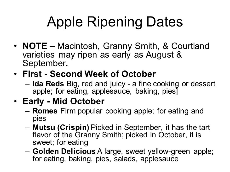 Apple Ripening Dates NOTE – Macintosh, Granny Smith, & Courtland varieties may ripen as early as August & September. First - Second Week of October –I