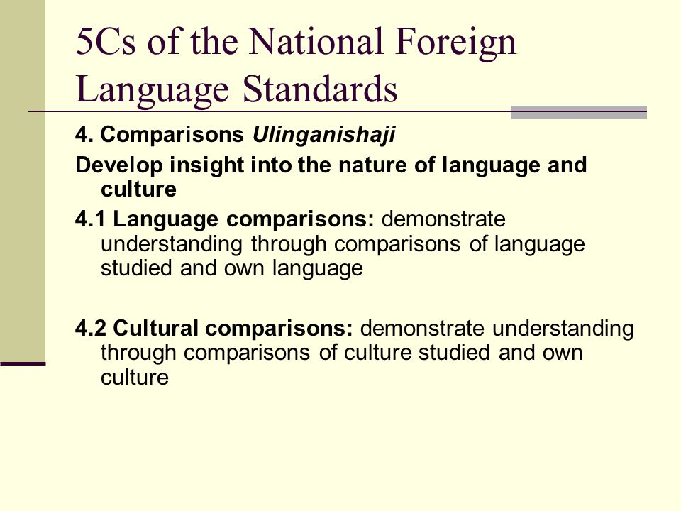 5Cs of the National Foreign Language Standards 4. Comparisons Ulinganishaji Develop insight into the nature of language and culture 4.1 Language compa