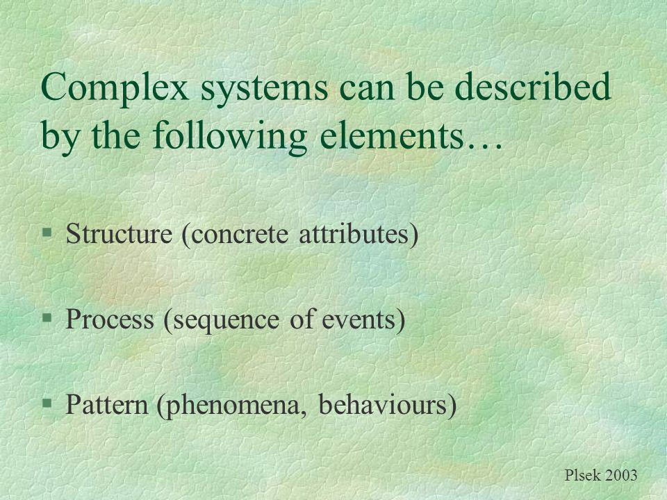 Complex systems can be described by the following elements… §Structure (concrete attributes) §Process (sequence of events) §Pattern (phenomena, behavi