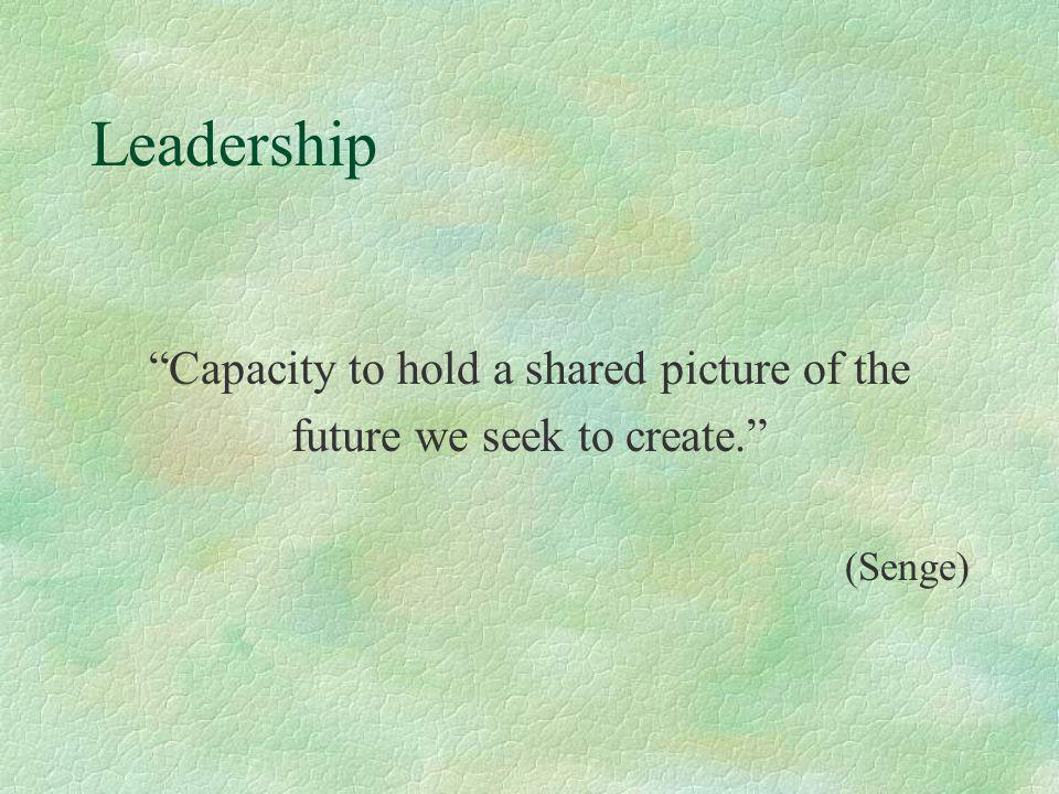 Leadership Capacity to hold a shared picture of the future we seek to create. (Senge)