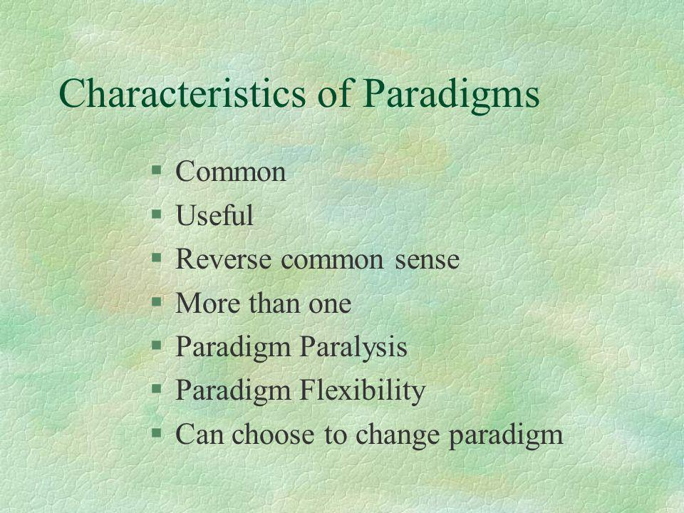 Characteristics of Paradigms §Common §Useful §Reverse common sense §More than one §Paradigm Paralysis §Paradigm Flexibility §Can choose to change para