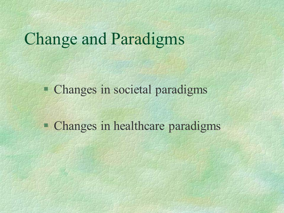 Change and Paradigms §Changes in societal paradigms §Changes in healthcare paradigms
