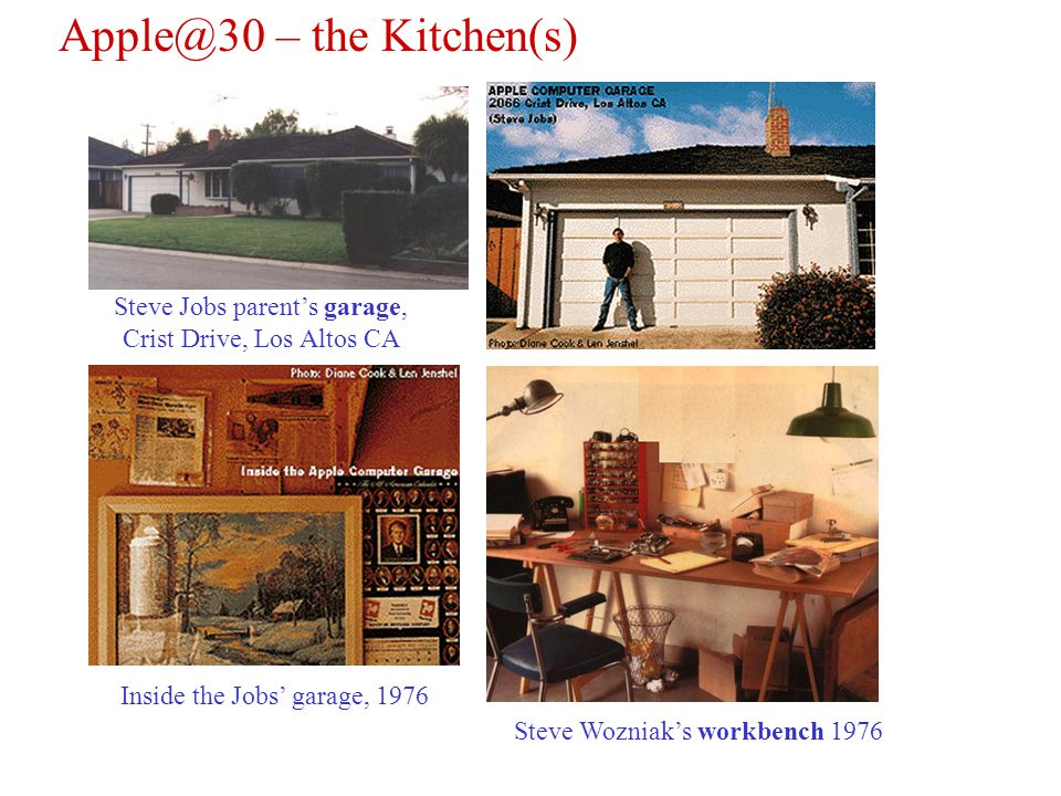 Apple@30 – the Kitchen(s) Steve Wozniaks workbench 1976 Steve Jobs parents garage, Crist Drive, Los Altos CA Inside the Jobs garage, 1976