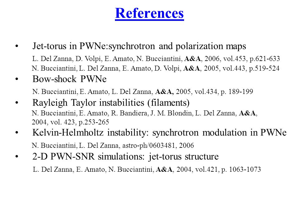 References Jet-torus in PWNe:synchrotron and polarization maps L.