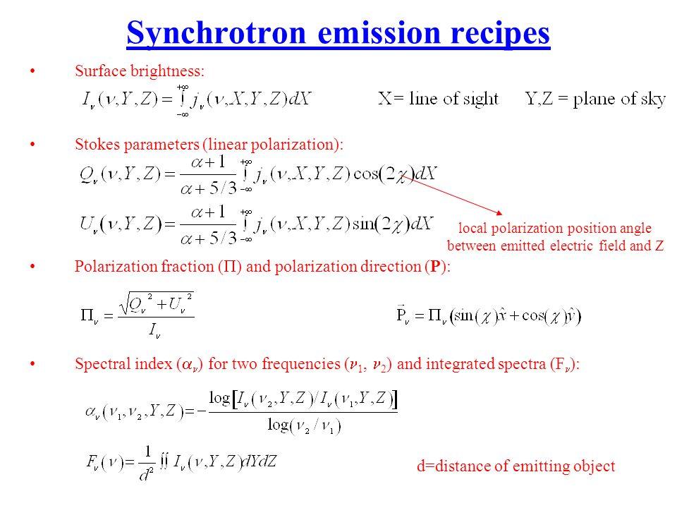 Synchrotron emission recipes Surface brightness: Stokes parameters (linear polarization): Polarization fraction ( ) and polarization direction (P): Sp