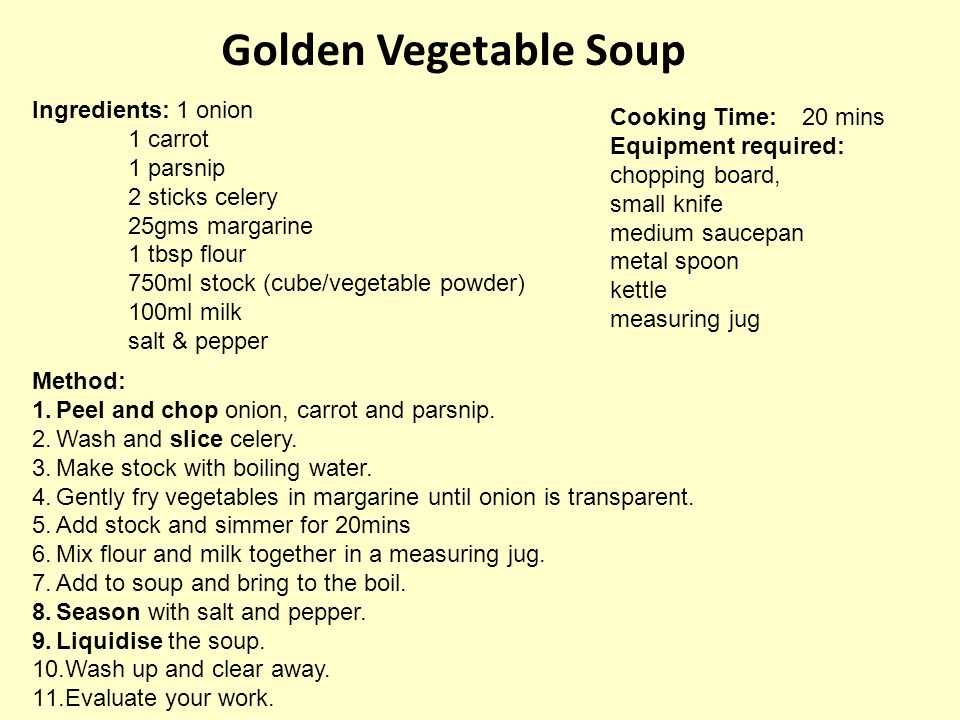 Carrot & Coriander Soup Ingredients: 40gms margarine 500gms carrots 250gms potatoes 1 onion 600ml water 1 stock cube salt and pepper 2 tb sp chopped coriander Method: 1.Peel and chop onion, carrots and potatoes.
