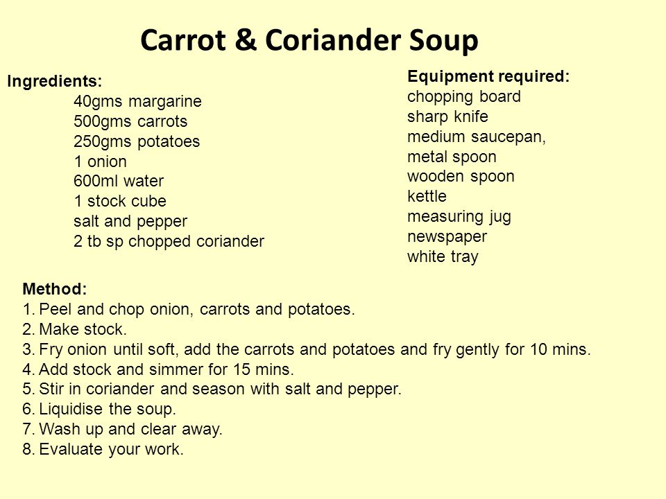 Carrot & Coriander Soup Ingredients: 40gms margarine 500gms carrots 250gms potatoes 1 onion 600ml water 1 stock cube salt and pepper 2 tb sp chopped c