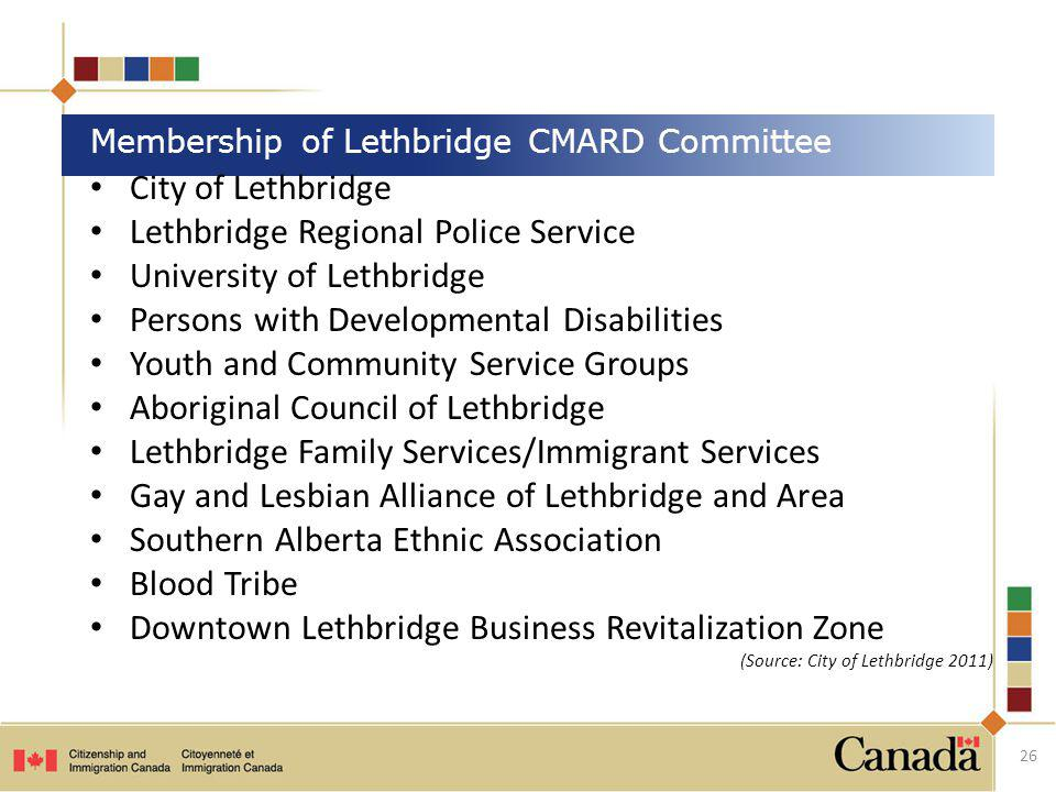 City of Lethbridge Lethbridge Regional Police Service University of Lethbridge Persons with Developmental Disabilities Youth and Community Service Gro
