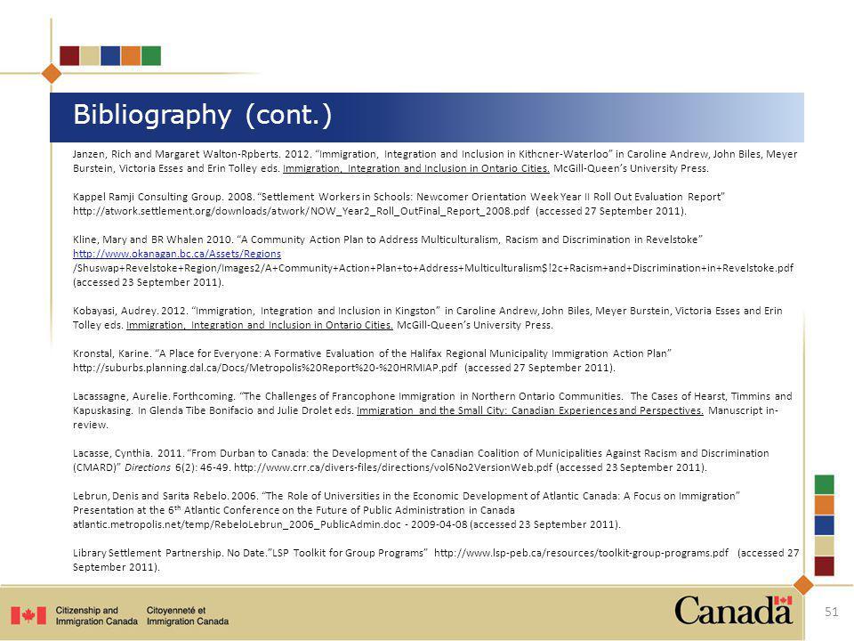 Janzen, Rich and Margaret Walton-Rpberts. 2012. Immigration, Integration and Inclusion in Kithcner-Waterloo in Caroline Andrew, John Biles, Meyer Burs
