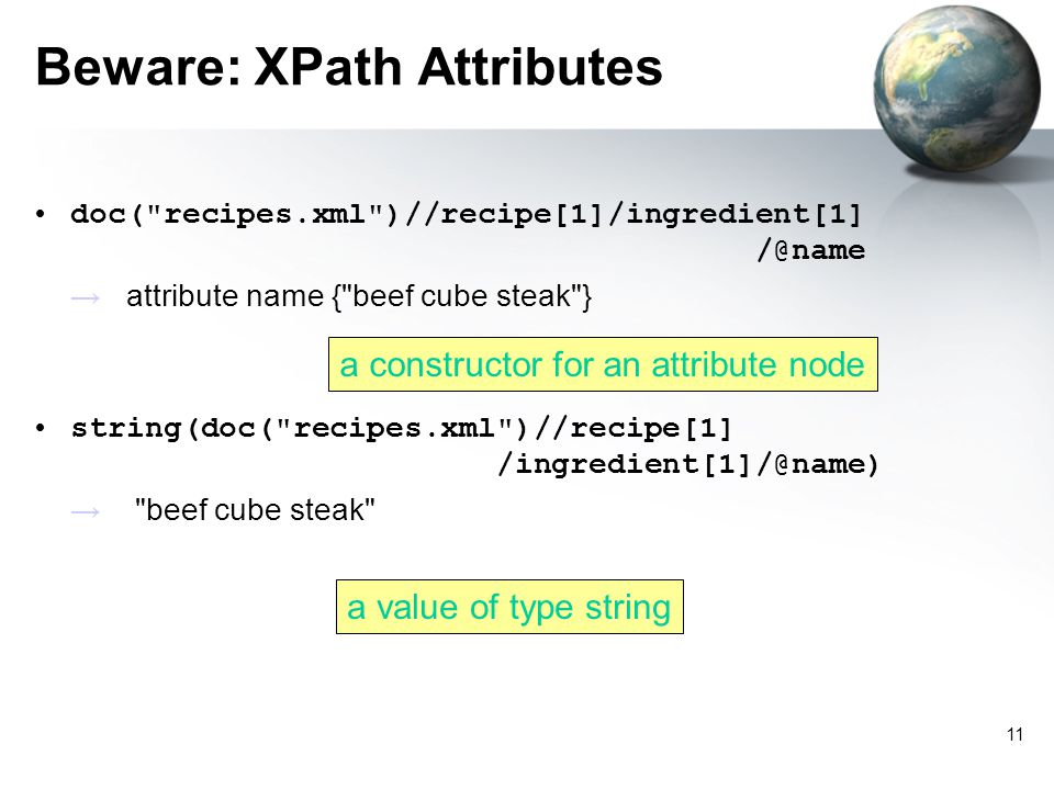 11 Beware: XPath Attributes doc( recipes.xml )//recipe[1]/ingredient[1] /@name attribute name { beef cube steak } string(doc( recipes.xml )//recipe[1] /ingredient[1]/@name) beef cube steak a constructor for an attribute node a value of type string