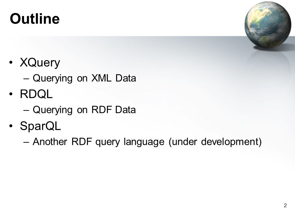 2 Outline XQuery –Querying on XML Data RDQL –Querying on RDF Data SparQL –Another RDF query language (under development)