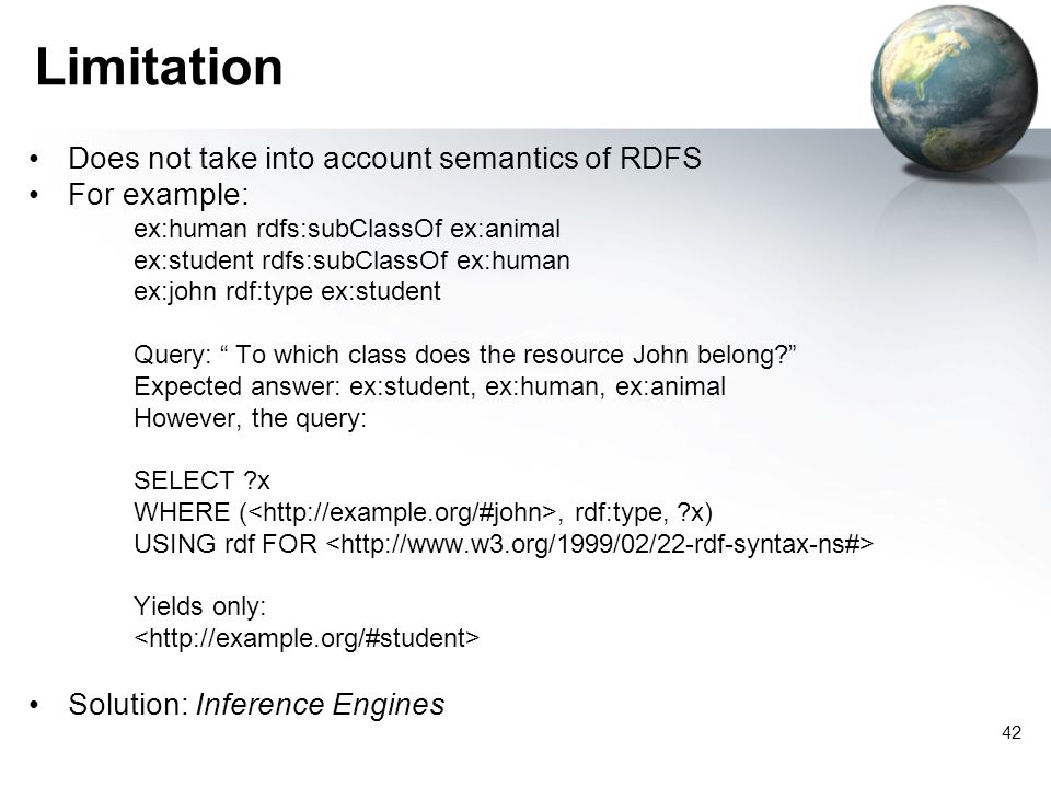 42 Limitation Does not take into account semantics of RDFS For example: ex:human rdfs:subClassOf ex:animal ex:student rdfs:subClassOf ex:human ex:john rdf:type ex:student Query: To which class does the resource John belong.