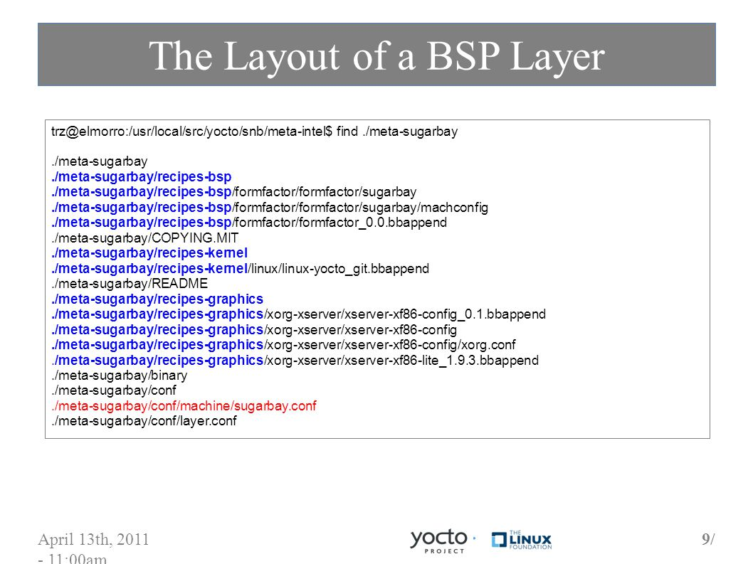 April 13th, 2011 - 11:00am 9/9/ The Layout of a BSP Layer trz@elmorro:/usr/local/src/yocto/snb/meta-intel$ find./meta-sugarbay./meta-sugarbay./meta-sugarbay/recipes-bsp./meta-sugarbay/recipes-bsp/formfactor/formfactor/sugarbay./meta-sugarbay/recipes-bsp/formfactor/formfactor/sugarbay/machconfig./meta-sugarbay/recipes-bsp/formfactor/formfactor_0.0.bbappend./meta-sugarbay/COPYING.MIT./meta-sugarbay/recipes-kernel./meta-sugarbay/recipes-kernel/linux/linux-yocto_git.bbappend./meta-sugarbay/README./meta-sugarbay/recipes-graphics./meta-sugarbay/recipes-graphics/xorg-xserver/xserver-xf86-config_0.1.bbappend./meta-sugarbay/recipes-graphics/xorg-xserver/xserver-xf86-config./meta-sugarbay/recipes-graphics/xorg-xserver/xserver-xf86-config/xorg.conf./meta-sugarbay/recipes-graphics/xorg-xserver/xserver-xf86-lite_1.9.3.bbappend./meta-sugarbay/binary./meta-sugarbay/conf./meta-sugarbay/conf/machine/sugarbay.conf./meta-sugarbay/conf/layer.conf