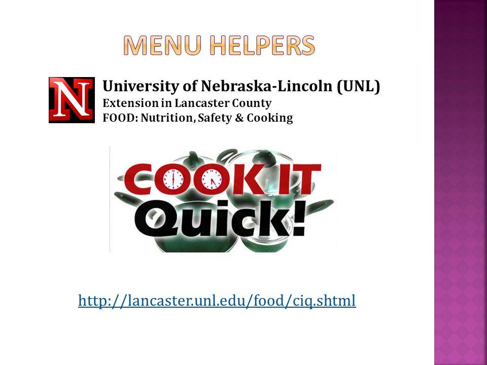 http://lancaster.unl.edu/food/ciq.shtml University of Nebraska-Lincoln (UNL) Extension in Lancaster County FOOD: Nutrition, Safety & Cooking