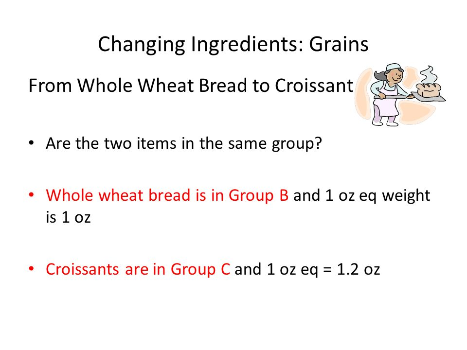 Changing Ingredients: Grains From Whole Wheat Bread to Croissant Are the two items in the same group.