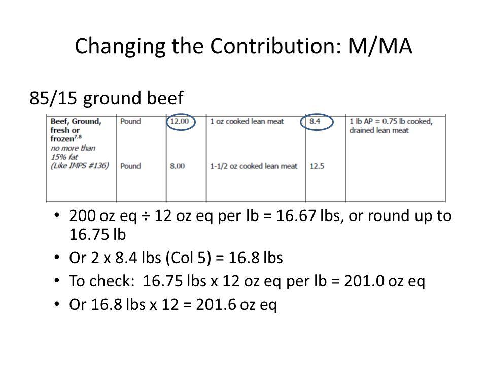 Changing the Contribution: M/MA 85/15 ground beef 200 oz eq ÷ 12 oz eq per lb = 16.67 lbs, or round up to 16.75 lb Or 2 x 8.4 lbs (Col 5) = 16.8 lbs To check: 16.75 lbs x 12 oz eq per lb = 201.0 oz eq Or 16.8 lbs x 12 = 201.6 oz eq