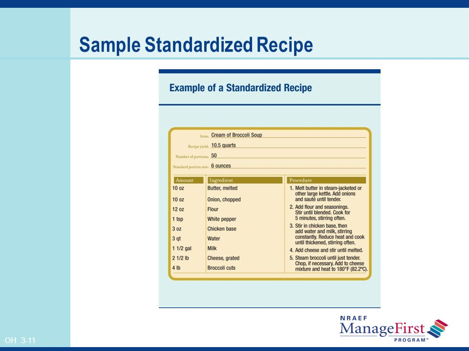 OH 3-11 Sample Standardized Recipe