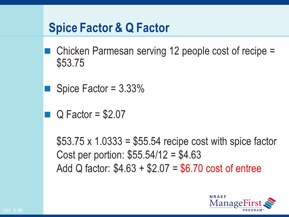 OH 3-30 Spice Factor & Q Factor Chicken Parmesan serving 12 people cost of recipe = $53.75 Spice Factor = 3.33% Q Factor = $2.07 $53.75 x 1.0333 = $55