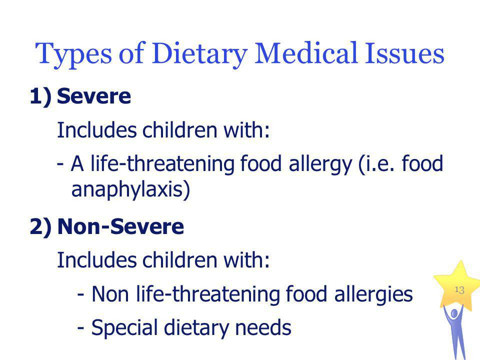 Types of Dietary Medical Issues 1)Severe Includes children with: - A life-threatening food allergy (i.e.