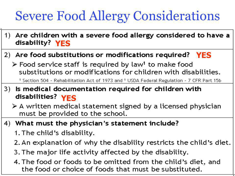 Severe Food Allergy Considerations 14 YES