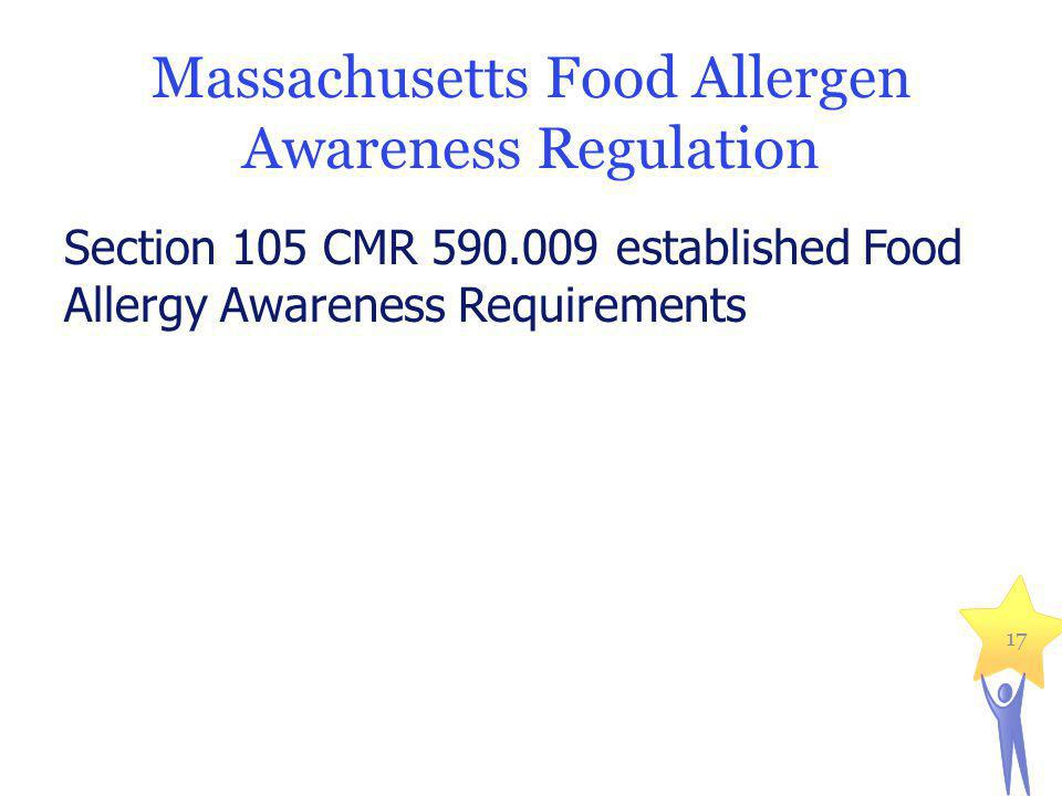 Massachusetts Food Allergen Awareness Regulation Section 105 CMR 590.009 established Food Allergy Awareness Requirements 17