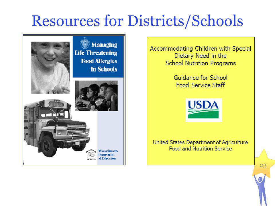 Resources for Districts/Schools 23 Accommodating Children with Special Dietary Need in the School Nutrition Programs Guidance for School Food Service Staff United States Department of Agriculture Food and Nutrition Service