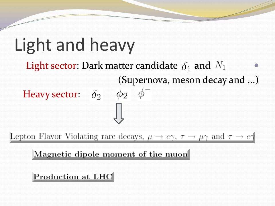 Light and heavy Light sector: Dark matter candidate and (Supernova, meson decay and...) Heavy sector: