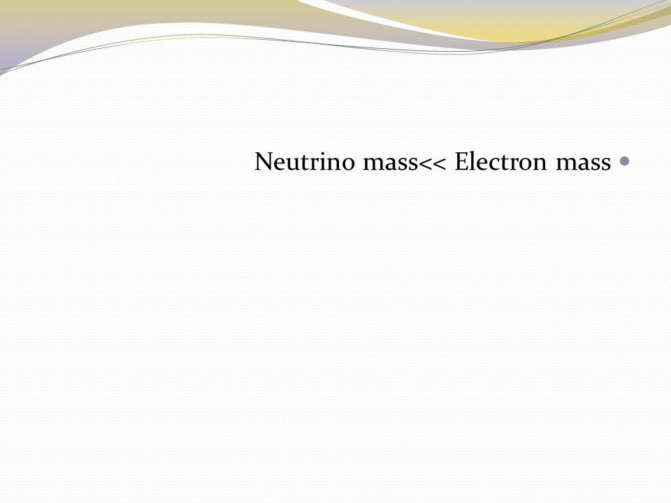 Neutrino mass<< Electron mass