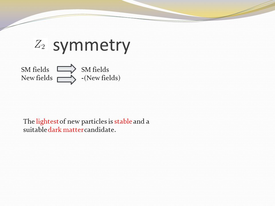 symmetry SM fields New fields -(New fields) The lightest of new particles is stable and a suitable dark matter candidate.