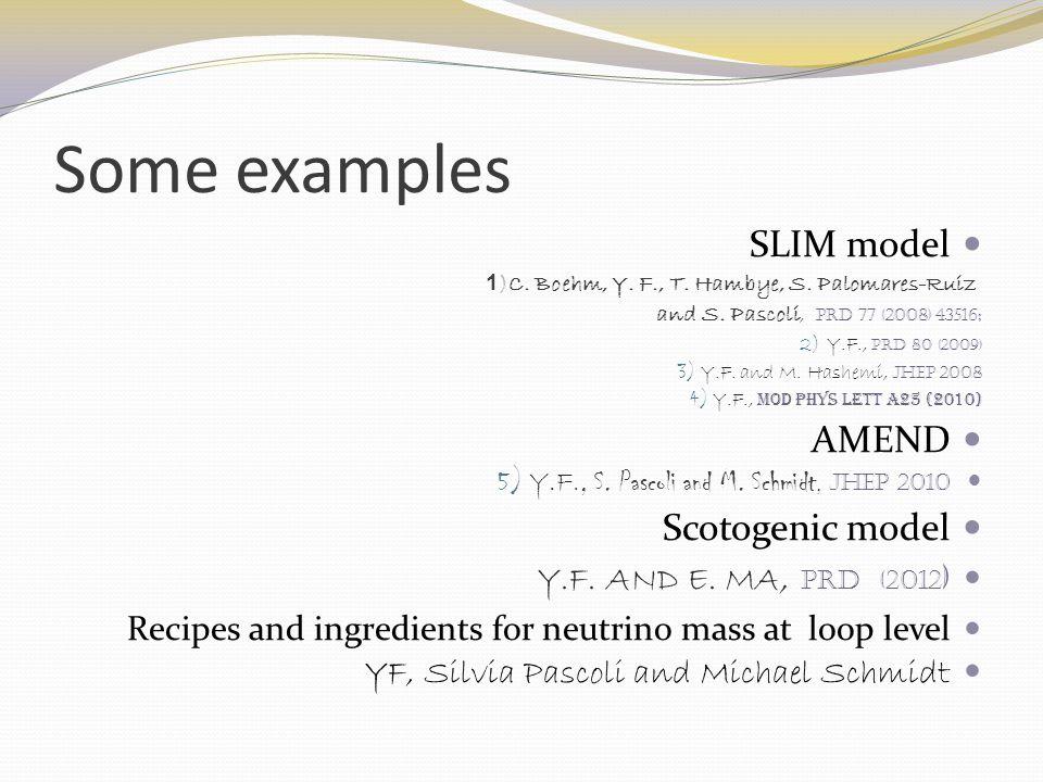 Some examples SLIM model )C.Boehm, Y. F., T. Hambye, S.