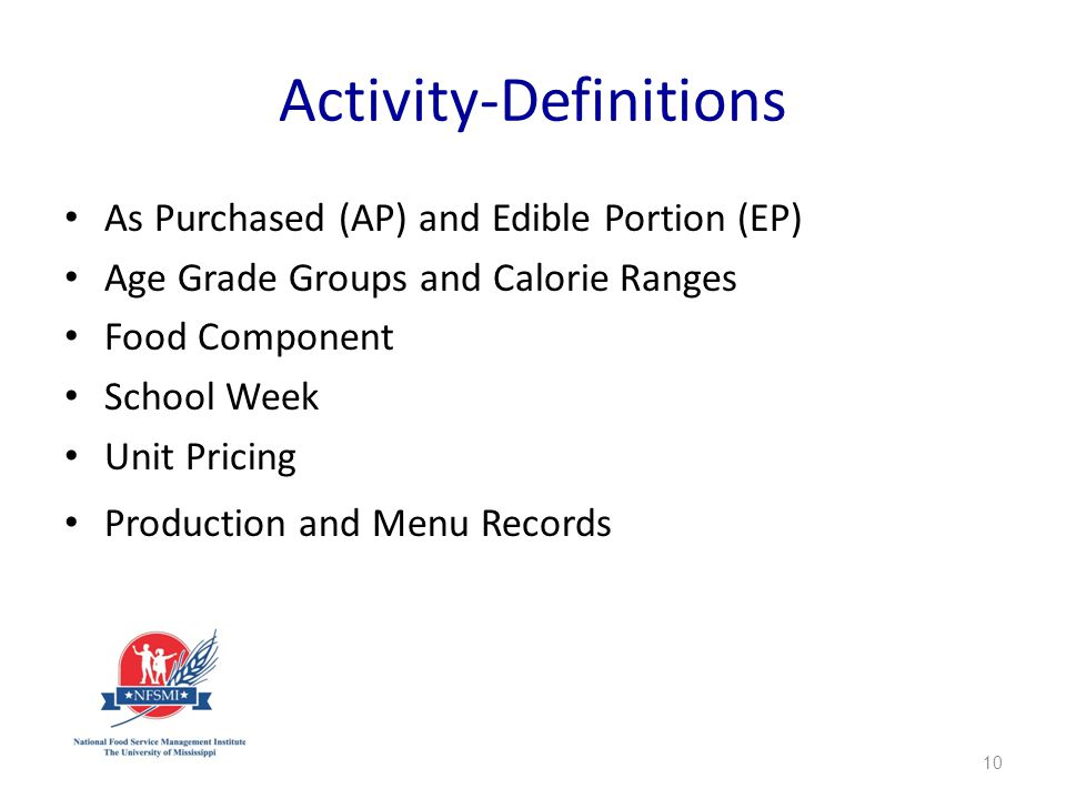 Activity-Definitions As Purchased (AP) and Edible Portion (EP) Age Grade Groups and Calorie Ranges Food Component School Week Unit Pricing Production and Menu Records 10