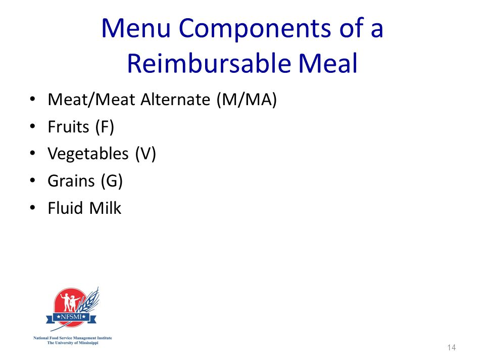Menu Components of a Reimbursable Meal Meat/Meat Alternate (M/MA) Fruits (F) Vegetables (V) Grains (G) Fluid Milk 14