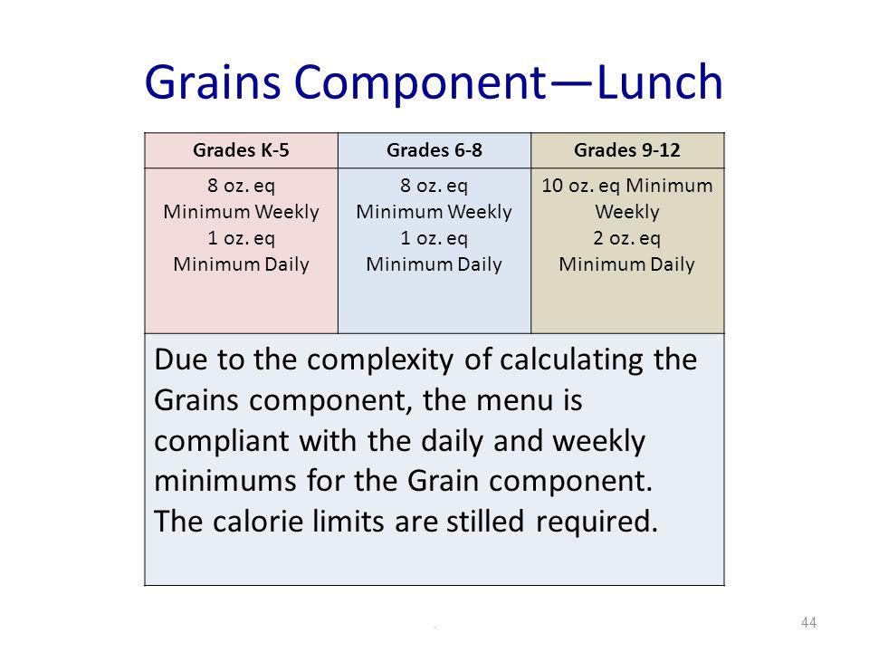 Grains ComponentLunch.44 Grades K-5Grades 6-8Grades 9-12 8 oz. eq Minimum Weekly 1 oz. eq Minimum Daily 8 oz. eq Minimum Weekly 1 oz. eq Minimum Daily