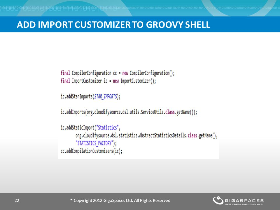 ADD IMPORT CUSTOMIZER TO GROOVY SHELL ® Copyright 2012 GigaSpaces Ltd. All Rights Reserved22