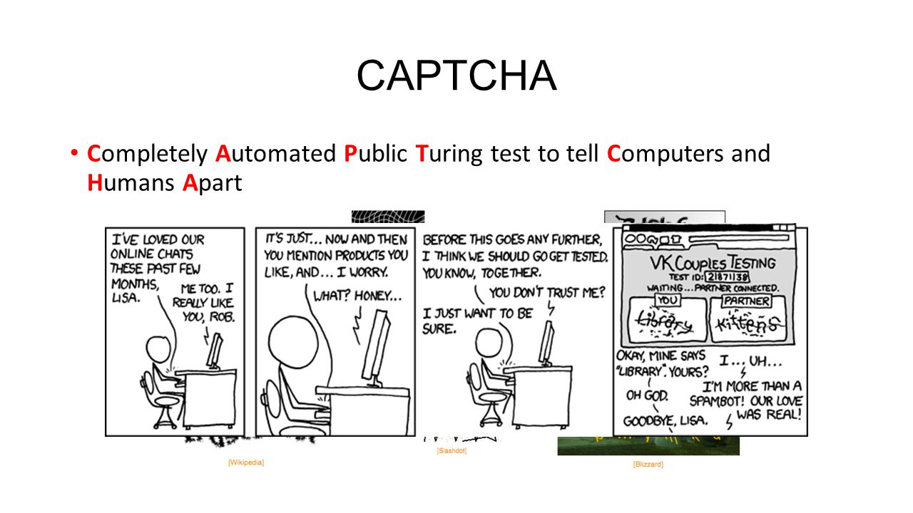 CAPTCHA Completely Automated Public Turing test to tell Computers and Humans Apart