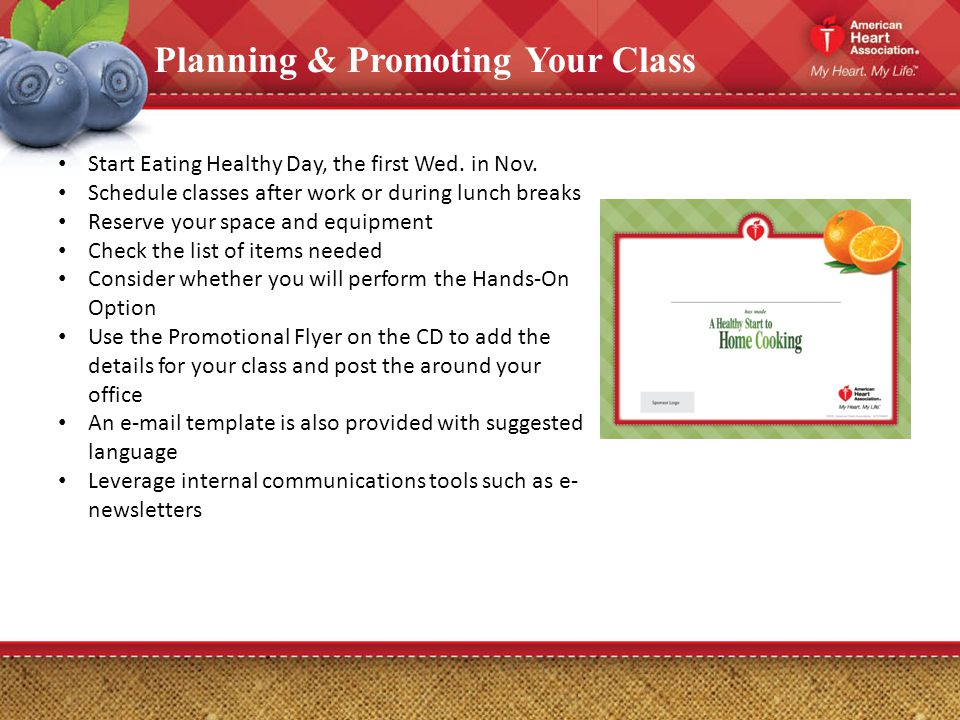 Planning & Promoting Your Class Start Eating Healthy Day, the first Wed.