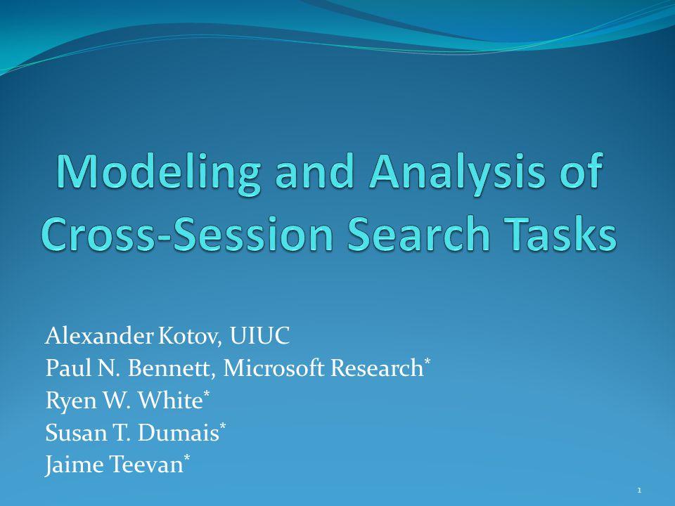 Alexander Kotov, UIUC Paul N. Bennett, Microsoft Research * Ryen W. White * Susan T. Dumais * Jaime Teevan * 1