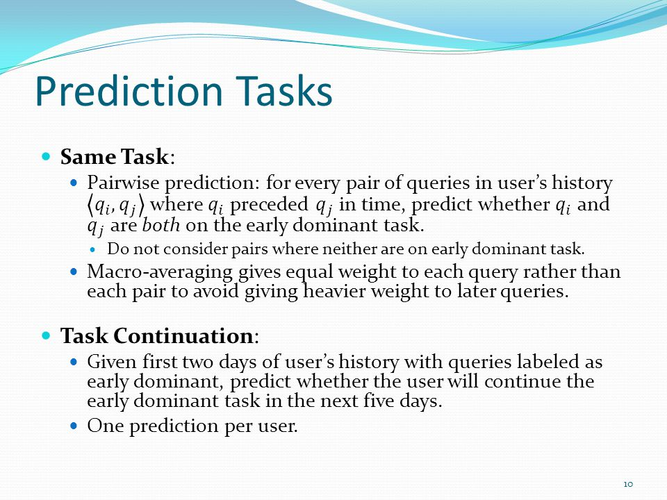 Prediction Tasks 10