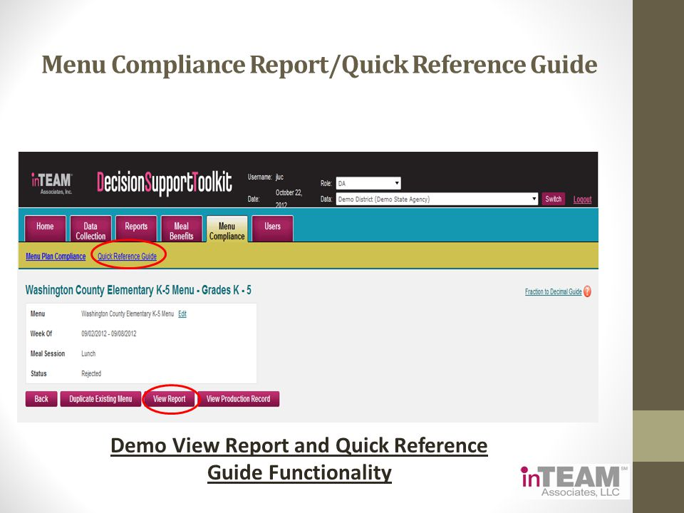 Menu Compliance Report/Quick Reference Guide Demo View Report and Quick Reference Guide Functionality