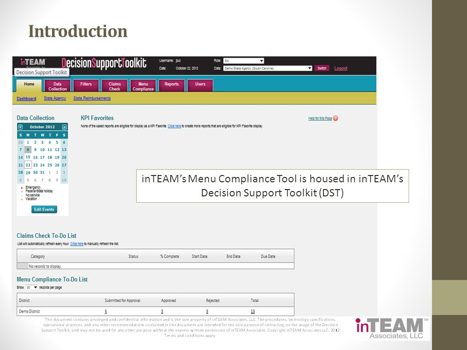 Introduction inTEAMs Menu Compliance Tool is housed in inTEAMs Decision Support Toolkit (DST)