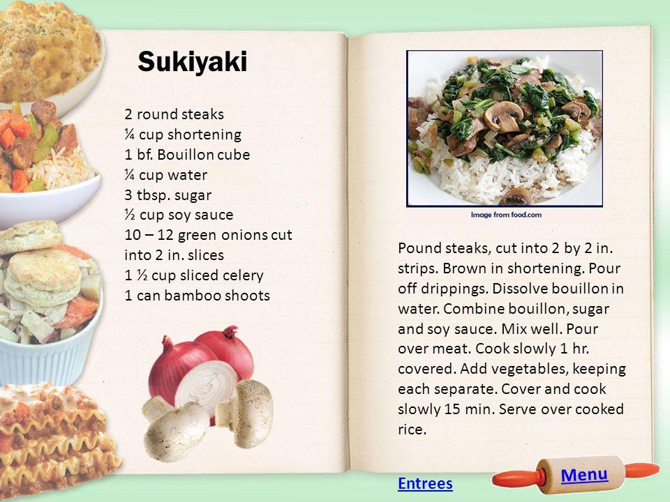 Menu Sukiyaki 2 round steaks ¼ cup shortening 1 bf.
