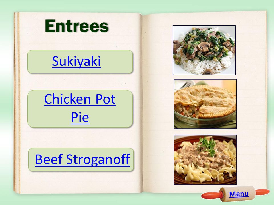 Entrees Sukiyaki Chicken Pot Pie Beef Stroganoff Menu