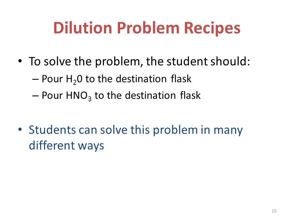 Dilution Problem Recipes To solve the problem, the student should: – Pour H 2 0 to the destination flask – Pour HNO 3 to the destination flask Student