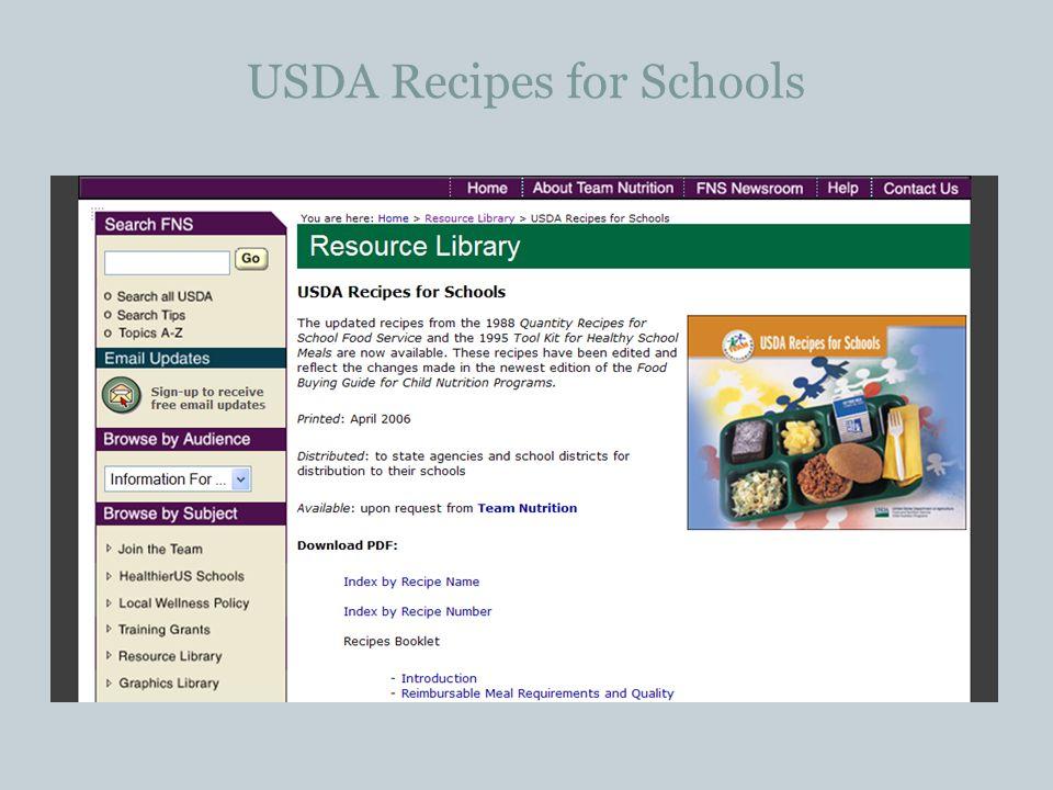 USDA Recipes for Schools