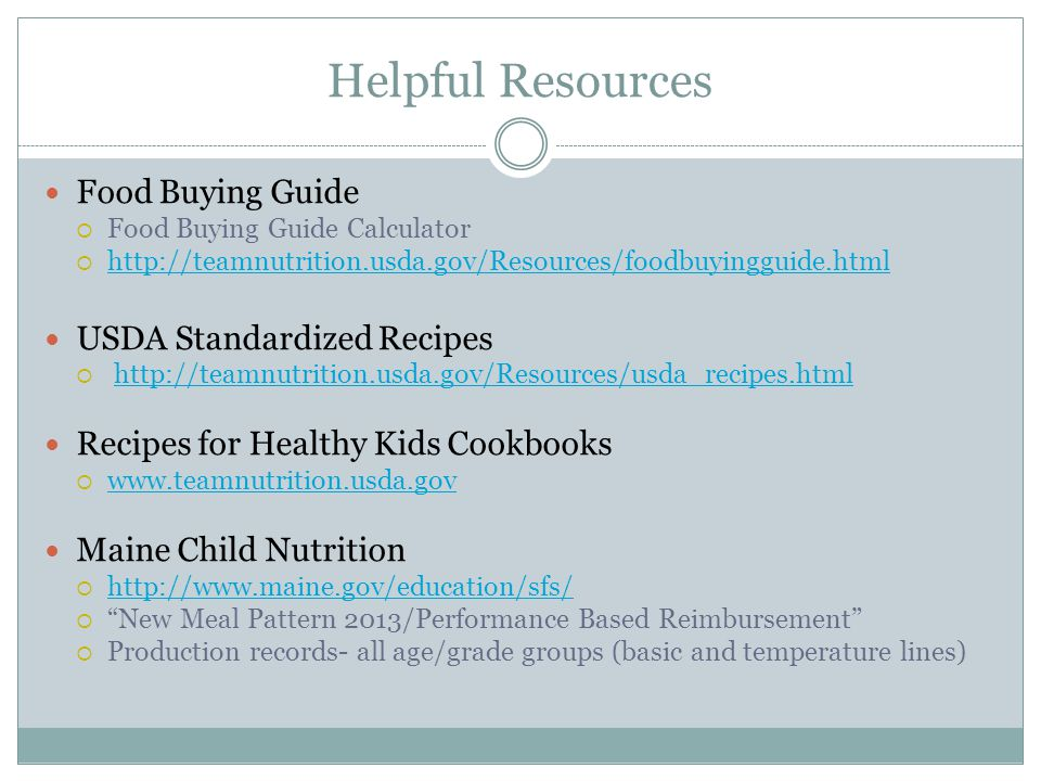 Helpful Resources Food Buying Guide Food Buying Guide Calculator http://teamnutrition.usda.gov/Resources/foodbuyingguide.html USDA Standardized Recipe