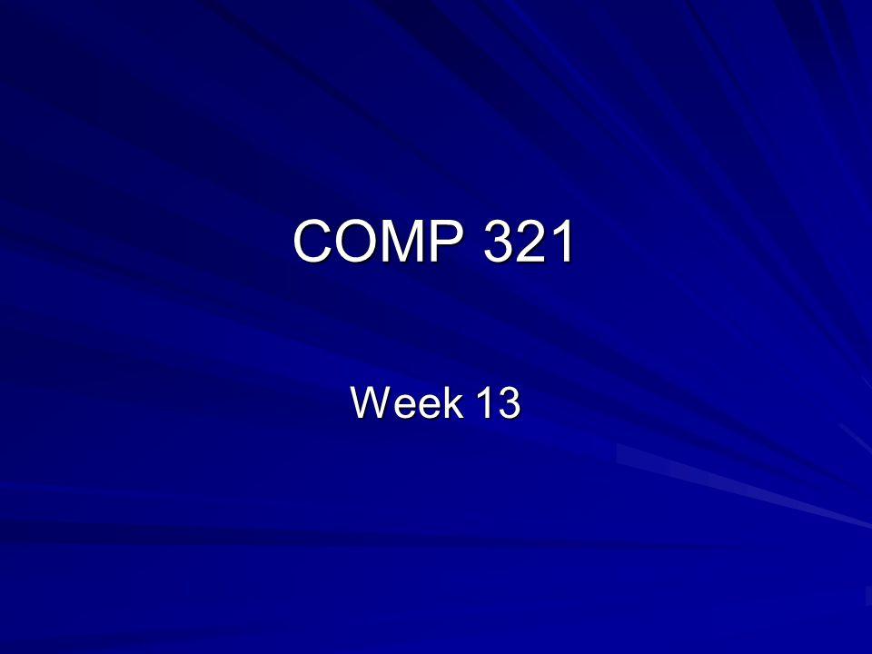 COMP 321 Week 13