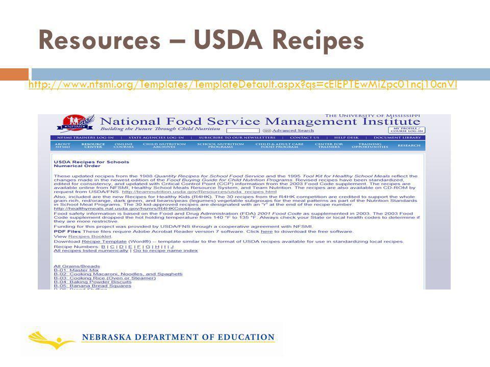 Resources – USDA Recipes http://www.nfsmi.org/Templates/TemplateDefault.aspx?qs=cElEPTEwMiZpc01ncj10cnVl