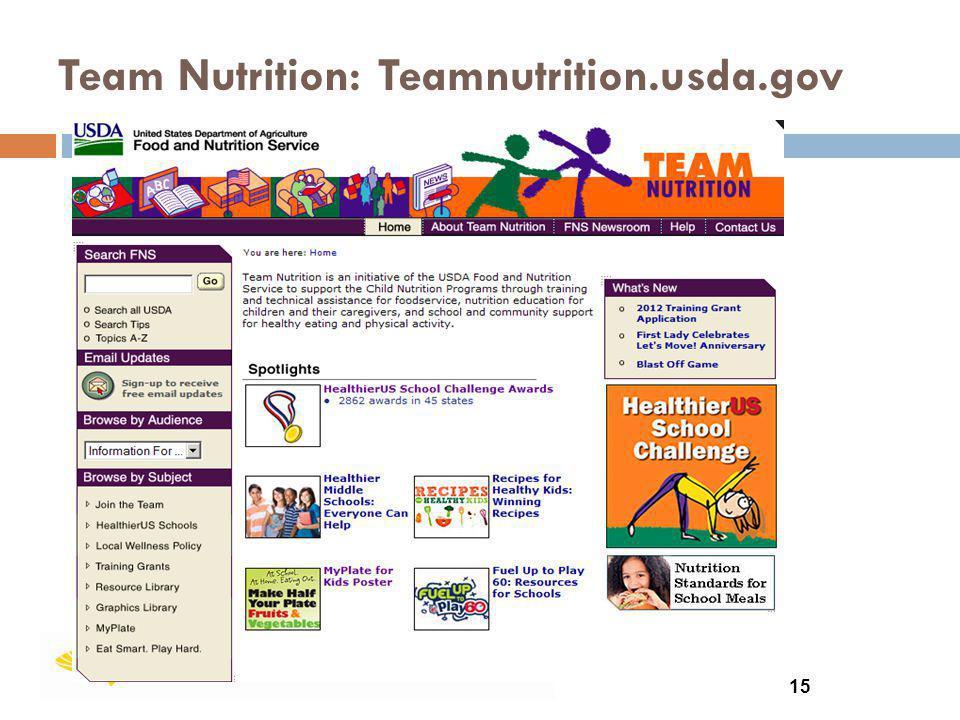 Team Nutrition: Teamnutrition.usda.gov 15